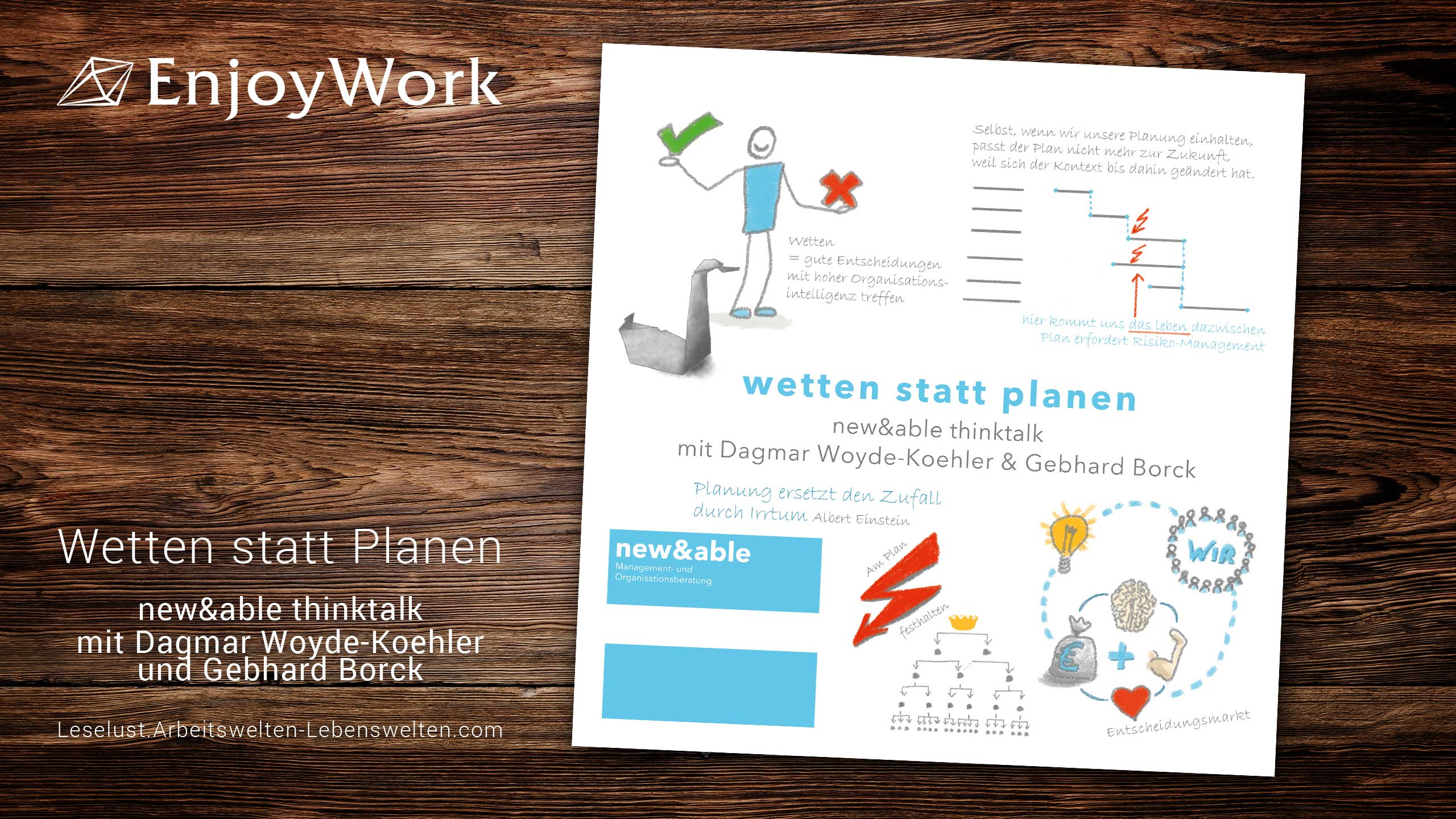 wetten statt planen. new&able thinktalk mit Dagmar Woyde-Koehler & Gebhard Borck via EnjoyWork LeseLust / copy new&able / GB Kommunikation GmbH / madiko